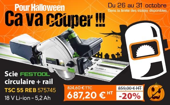 Offre halloween 2020 - Scie circulaire Festool TSC 55 avec rail